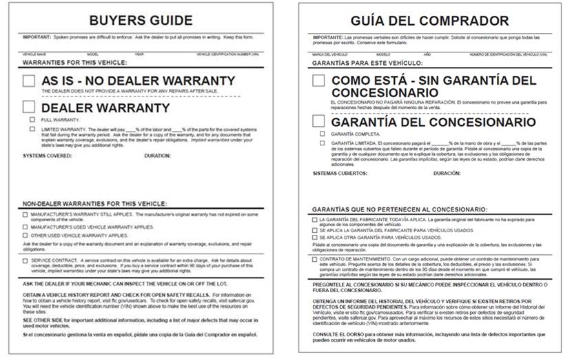 Revised Used Car Rule Answering dealers\u0027 questions Federal Trade