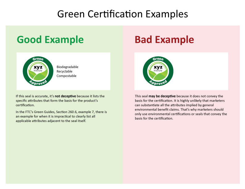 FTC Sends Warning Letters about Green Certification Seals Federal - certification examples