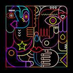 Abstract art vector illustration. Neon lights on black background.