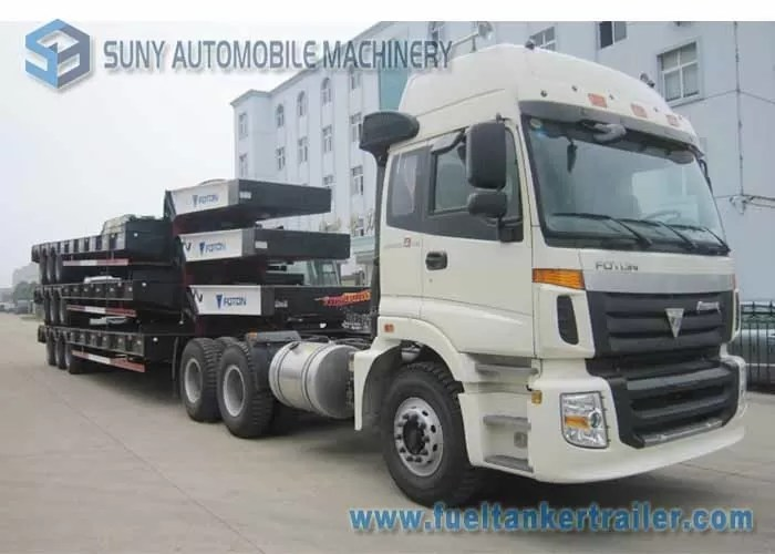 FUWA 13 T three Axle trailer , Low Bed Semi Trailer WABCO ABS JOST Legs