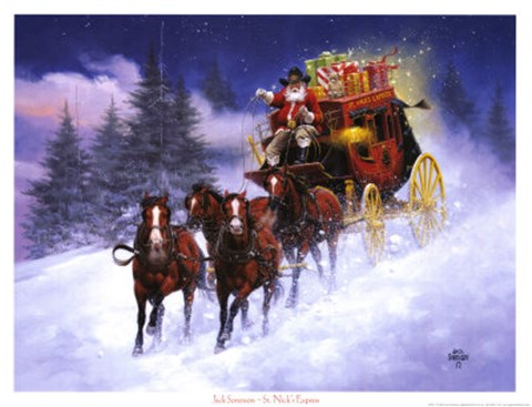Santa Claus Girl Wallpaper St Nicks Express Fine Art Print By Jack Sorenson At