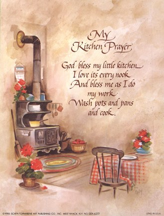 Wallpaper On Bedroom Wall Quotes My Kitchen Prayer Fine Art Print By J B Grant At