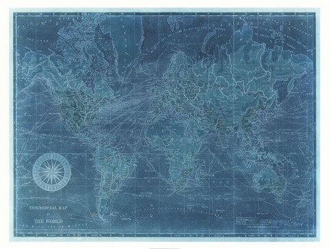 Azure World Map Fine Art Print by Vision Studio at FulcrumGallery