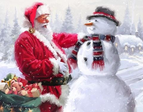 Girl Boy Wallpaper Santa And Snowman 3 Fine Art Print By The Macneil Studio