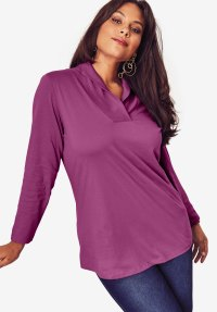 Shawl Collar Ultimate Tee | Plus Size Tops | Full Beauty