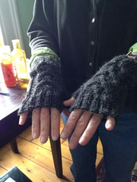 The fingerless gloves Sue made me from Tess' wool