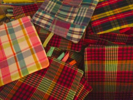The plaid backs of my Plaid Friday Potholders