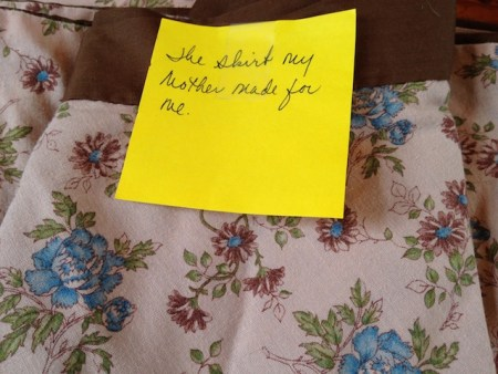 Susan's skirt with the post-it note on it.