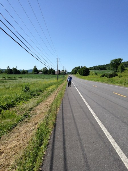 Jon walking on Route 22 this morning