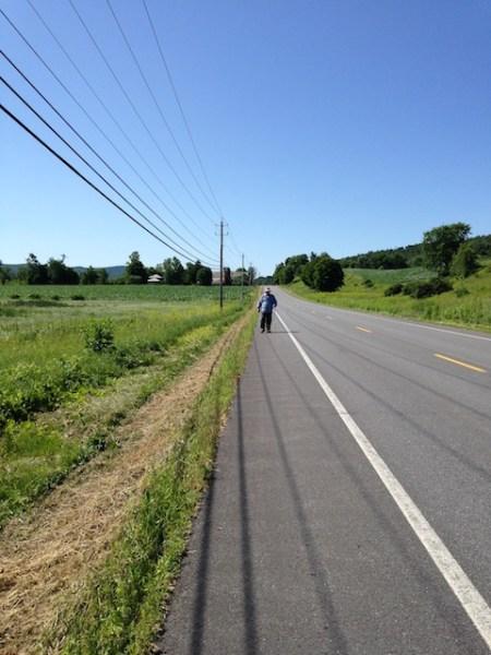 Jon walking on Route 22 this morning