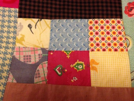 Detail of some of the Vintage patchwork squares that I used in my potholders