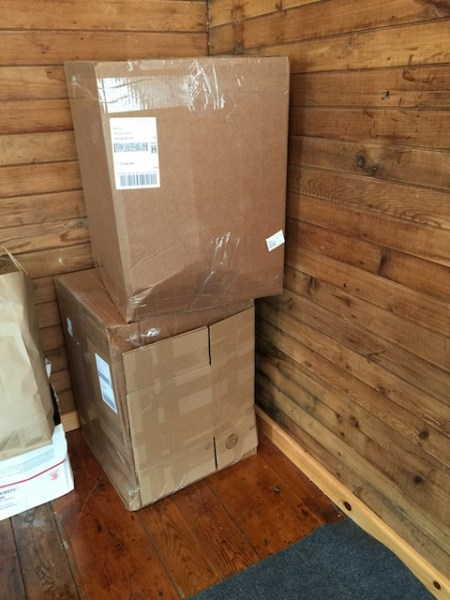 Boxes of Kim's clothes