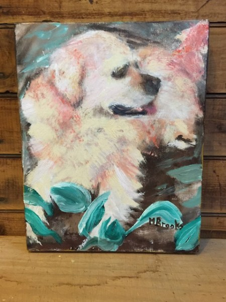"""Mischevious Puppy by Marilyn Brooks 8""""x10"""" + shipping"""