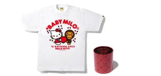 A BATHING APE (エイプ) × ハローキティ (HALLO KITTY)のバレンタインコラボTシャツが発売!