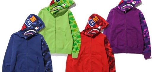 エイプ (A BATHING APE)から、「COLOR CAMO SHARK FULL ZIP HOODIE」と「SHARK VELOUR JERSEY」が発売!