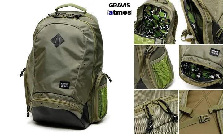 カモフラインナーのグラビス × アトモス バックパック & ショルダーバッグ「GRAVIS×atmos A-FRAME & HOBO SMALL」が9/19から発売!