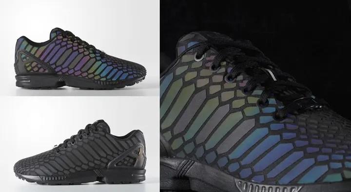 闇夜で蛇が光るオールブラックのアディダス オリジナルス フラックス XENO スネークが近日発売! (adidas Originals ZX FLUX XENO SNAKE) [AQ7418]
