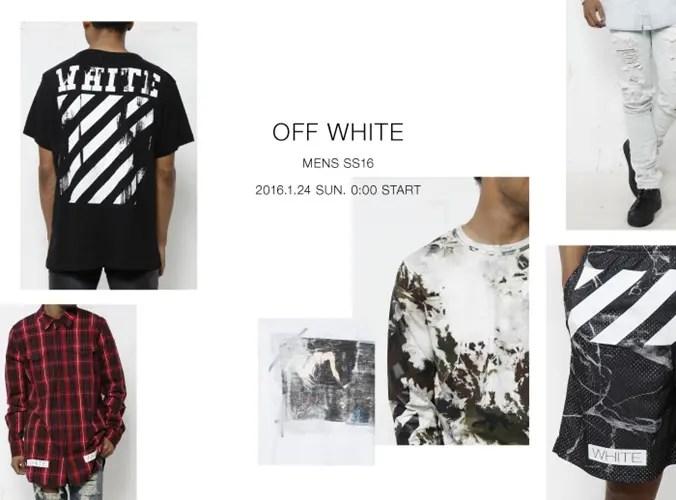 OFF-WHITE C/O VIRGIL ABLOH MENS 2016 S/S コレクションが1/23から発売! (オフホワイト)