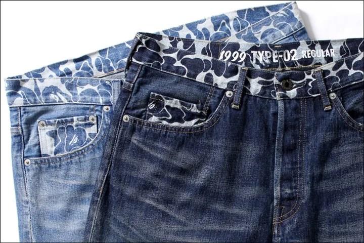 A BATHING APEから帯/コインポケット/後ポケット部分にABC CAMO柄抜染をした仕上げた「WASHED DENIM PANTS」が3/12発売!(エイプ)