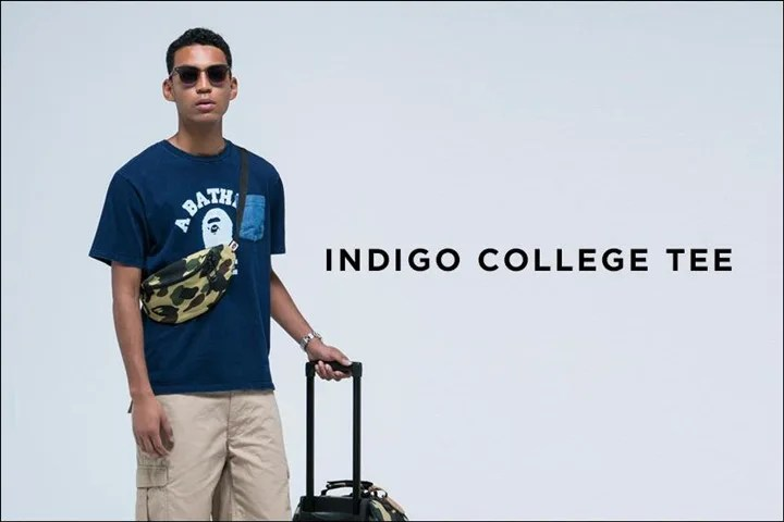 A BATHING APEから胸元にポケットのついたカレッジデザインの「INDIGO COLLEGE TEE 」が4/23発売!(エイプ)