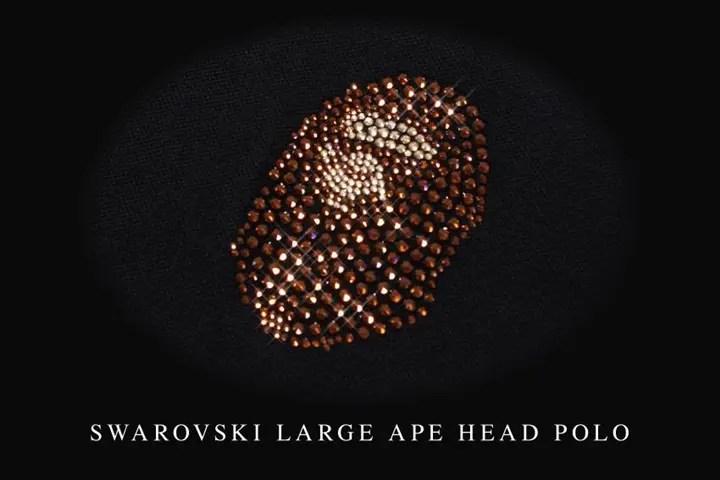 A BATHING APEからスワロフスキーで形作られたエイプヘッドが左胸に存在感を発揮するポロシャツ「SWAROVSKI LARGE APE HEAD POLO」が5/21から発売!(エイプ)
