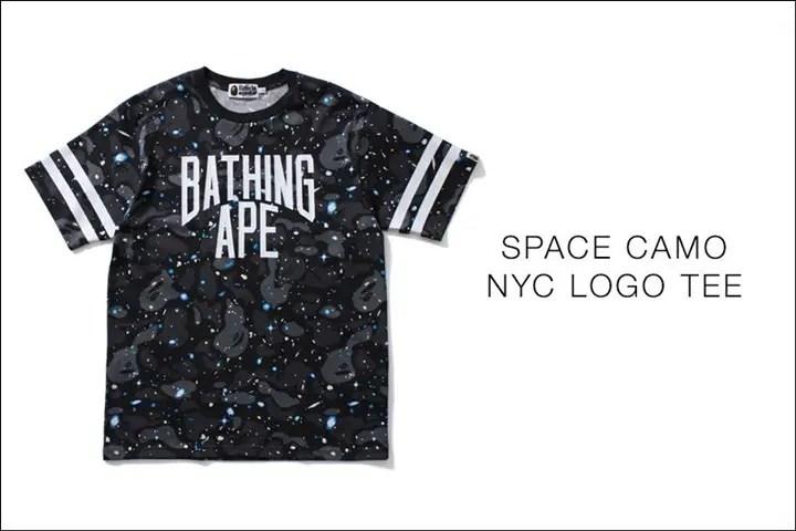A BATHING APEから宇宙を蓄光GIDプリントをで表現したスペースカモ デザイン TEE「SPACE CAMO NYC LOGO TEE」が5/21から発売!(エイプ)
