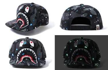 A BATHING APEから宇宙を蓄光GIDプリントで表現したスペースカモ × シャークモチーフ デザイン スナップバックキャップ「SPACE CAMO SHARK SNAPBACK CAP」が5/21から発売!(エイプ)