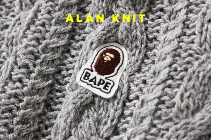 A BATHING APEから左腕にワンポイントのAPE HEADのロゴが入ったアラン模様で編み上げたニット「ALAN KNIT」が11/19発売! (ア ベイシング エイプ)