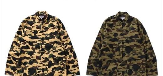 A BATHING APEから高級感漂うブロード生地を用いた中国の伝統衣装チャイナジャケットと1ST CAMOを掛け合わせた「1ST CAMO CHINA JACKET」が1/7から発売! (ア ベイシング エイプ)