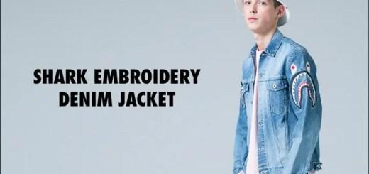 A BATHING APEからシャークモチーフが両袖に刺繍されたデニムジャケット「SHARK EMBROIDERY DENIM JACKET」が2/25発売! (ア ベイシング エイプ)