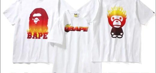 A BATHING APEから燃え盛る炎のモチーフと代表的なアイコンを組み合わせたTEE 3型が3/25から発売! (ア ベイシング エイプ)