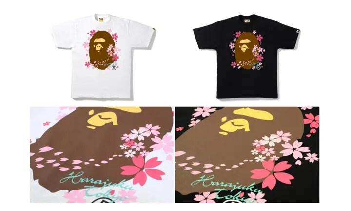桜満開!A BATHING APEからAPE HEADに桜がちりばめられたスペシャルTEE店舗限定で4/1発売! (ア ベイシング エイプ)