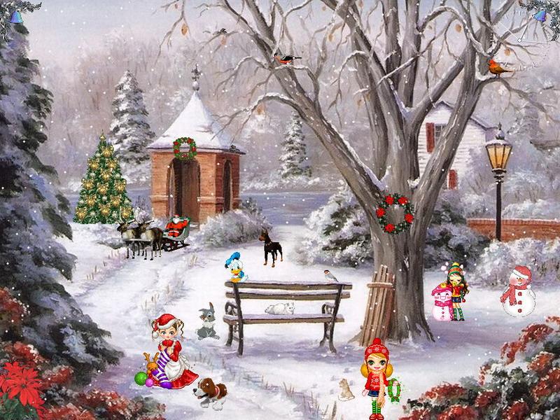 Free Snow Falling Animated Wallpaper Christmas Paradise Screensaver Christmas Screensaver