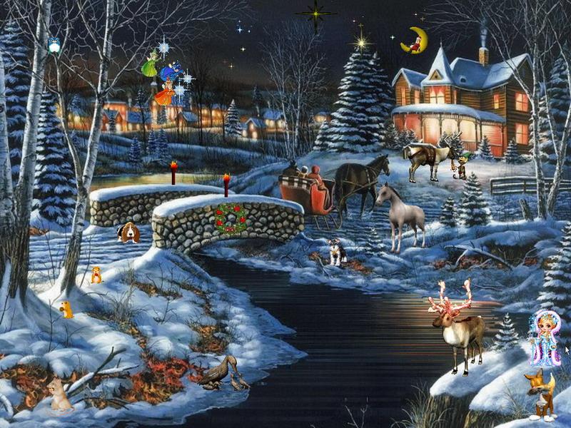 3d Snowy Cottage Animated Wallpaper Free Download Winter Fantasy 2 Winter Screensaver Fullscreensavers Com
