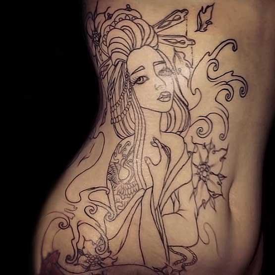 Geisha Tattoo Black And White