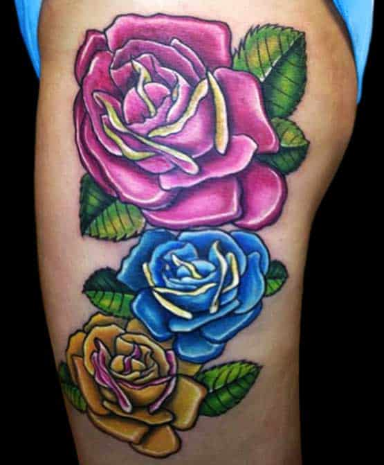 Three roses on women's thighs