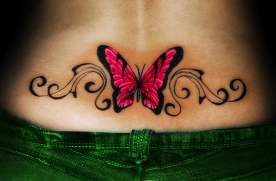 Butterfly lower back tattoos for girls