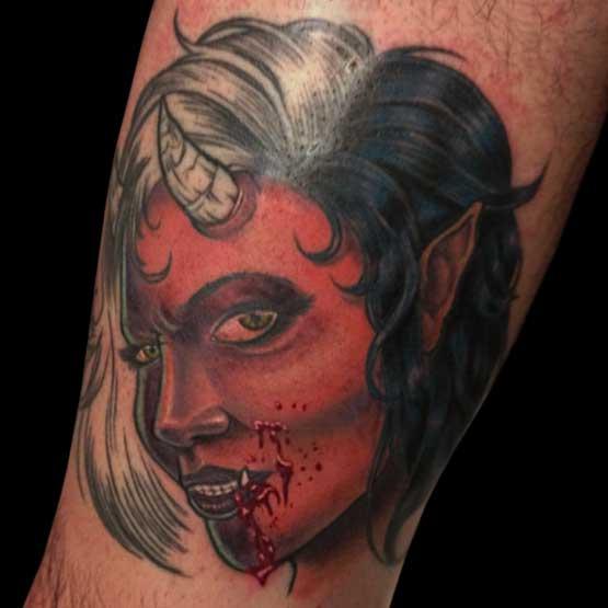 Blood Pudding Zombie Tattoo