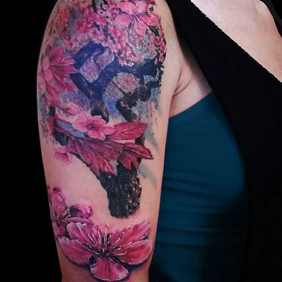 Cherry Blossom Half Sleeve Tattoo Designs