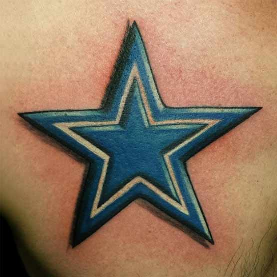 Blue Star Tattoo Designs On Chest