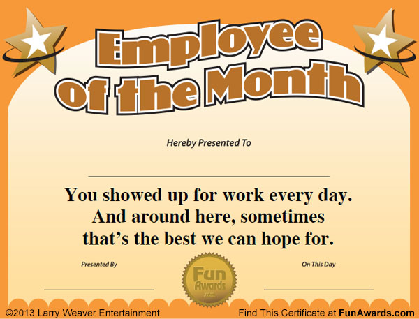 Funny Employee Awards - 101 Funny Awards for Employees, Work, Staff - best of free funny employee awards printable certificates