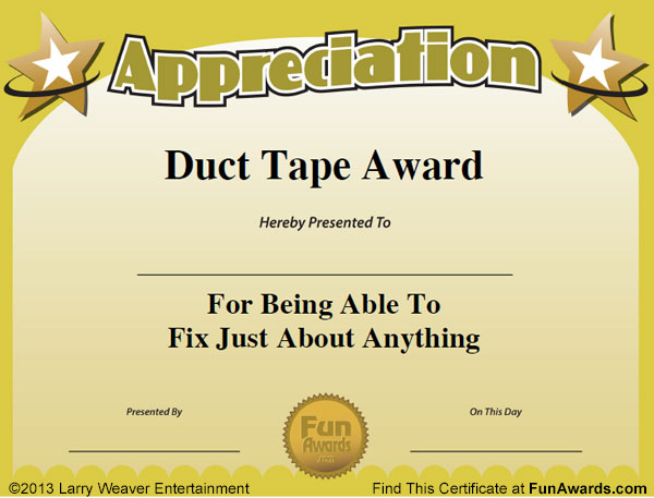 101 Funny Employee Awards by comedian Larry Weaver    www - certificates templates