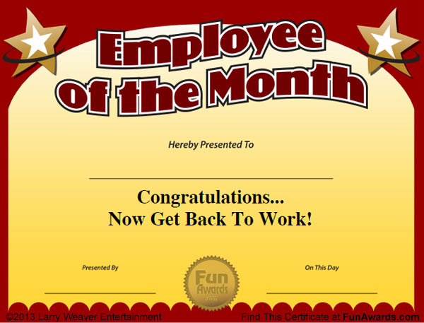 Employee of the Month Certificate Free Funny Award Template - Silly Certificates Awards Templates