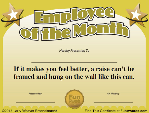 Employee of the Month Certificate Free Funny Award Template