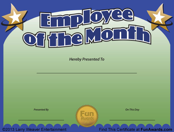 Employee of the Month Certificate Free Funny Award Template - free employee of the month certificate template