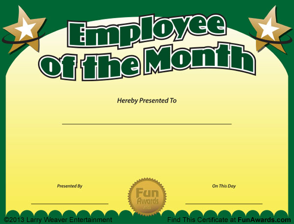 Employee Of The Month Certificate Template Free Waiter Resume