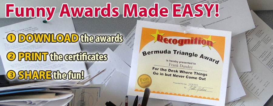 Funny Awards - Silly Awards, Humorous Award Certificates - employee superlatives