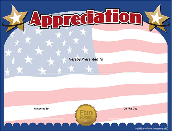 Military Certificates - Free Military Certificate of Appreciation