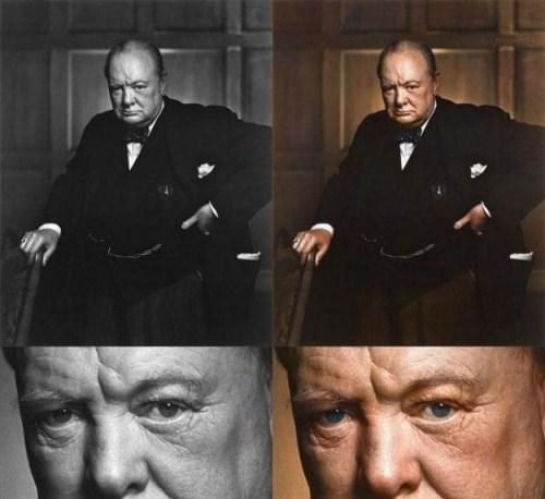 Winston Churchill Color Photo