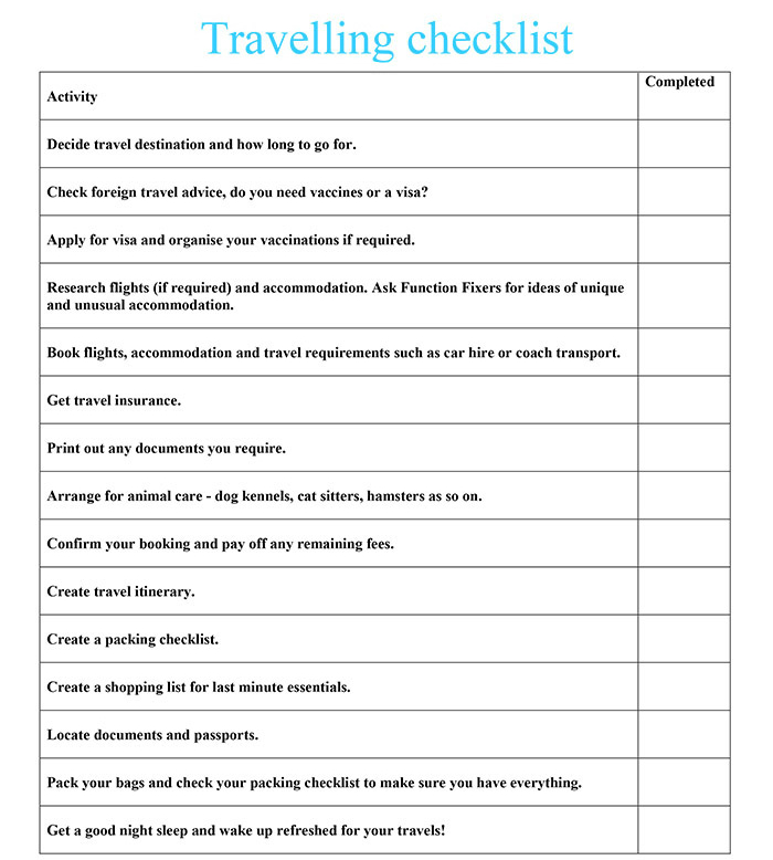 Travelling checklist Function Fixers - Travel Checklist